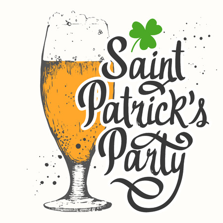 irish pub label design: illustration with glass of beer and congratulations.  Drink menu for celebration. Illustration