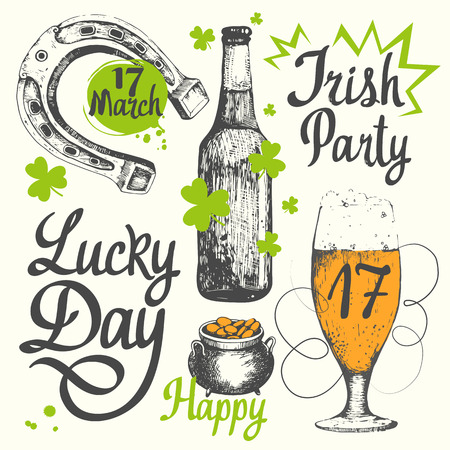 horseshoe vintage: illustration with glass of beer, bottle, cylinder, pipe, leaf of clover and congratulations. Drink menu for celebration.