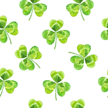 clover backdrop: Seamless floral pattern with flowers on a white background. Floral pattern with watercolor realistic leaves.