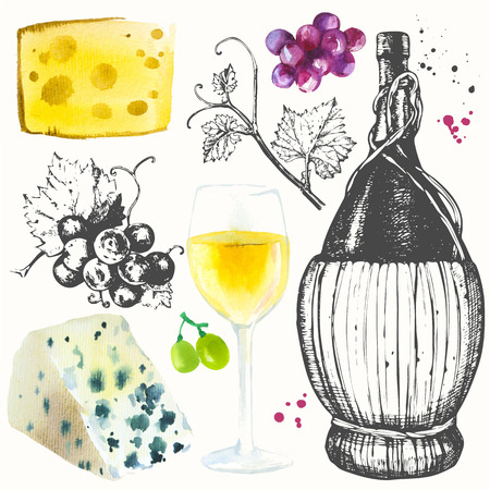 alcoholic drink: Watercolor and sketch illustration with wine glass, grapes, grape twig, cheese. Classical alcoholic drink. Stock Photo