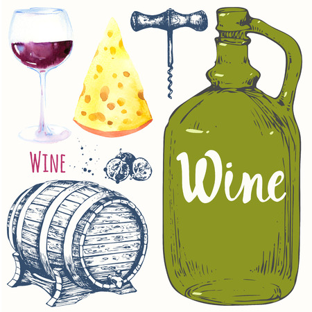 alcoholic drink: Watercolor and sketch illustration with wine glass, corkscrew, old wine bottle, grape, cheese, corkscrew. Classical alcoholic drink. Stock Photo