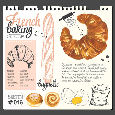 dessert: Croissant, bread, bun, baguette in sketch style. Watercolor and sketch illustration of fresh organic baking with cooking recipe. Dessert pastries.