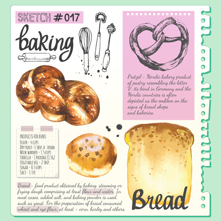 note pad: Croissant, bread, bun, baguette in sketch style. Watercolor and sketch illustration of fresh organic baking with cooking recipe. Dessert pastries.