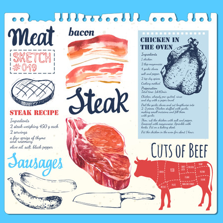delicacy: Set of raw beef steaks and bacon. Fresh organic meat products. Stock Photo