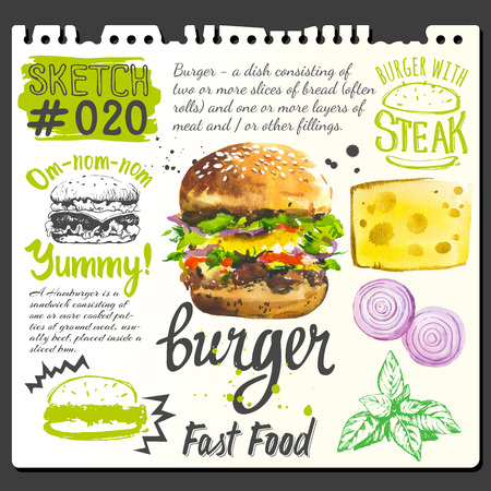 fresh food: Burger cheese, onions, basil in sketch style.  Illustration with watercolor food. Poster with hand-drawn sketch of burger. Fast food. American style.