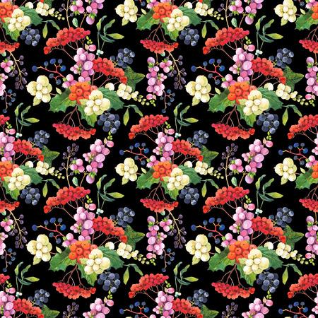 muerdago: Modelo floral con bayas realistas acuarela: snowberry, acebo, el mu�rdago y uvas silvestres. Foto de archivo