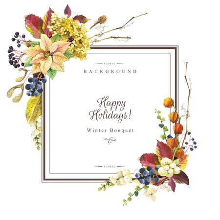 ash tree: Beautiful christmas bouquet and headline with winter flowers and plants on white background. Composition with berries, poinsettia, cape gooseberry, snowberry and hydrangea. Square frame with flowers. Stock Photo
