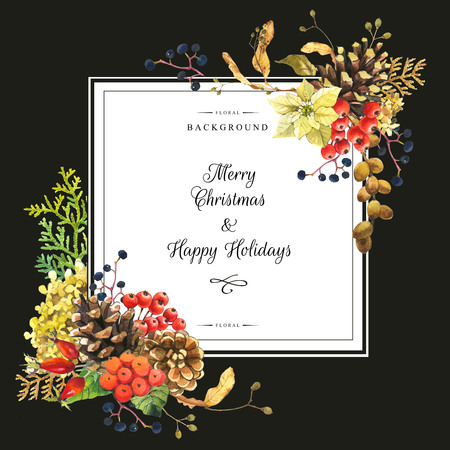 linden: Beautiful christmas bouquet and headline with winter flowers and plants on black background. Composition with berries, poinsettia, rowan, linden and hydrangea. Square frame with flowers.