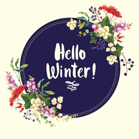 guelder rose: Natural floral pattern on a white background. Watercolor realistic berries:  snowberry, holly and wild grapes. Round frame. Hello winter