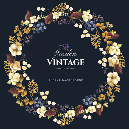 Beautiful forest wreath and headline with winter berries and plants on black background. Composition with snowberry, hydrangea, arborvitae and wild grapes.