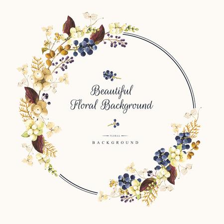白い背景に自然な花柄。水彩の現実的な果実: snowberry、アジサイ、クロベ、野生ブドウ。ラウンド フレーム。