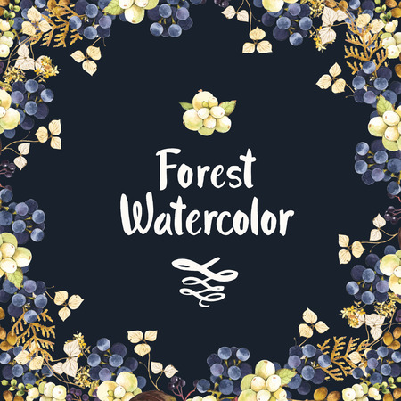 marcos redondos: Corona de Navidad hermosa y titular con flores de invierno y las plantas sobre fondo negro. Composición con snowberry, hortensias, árbol de la vida y las uvas silvestres.