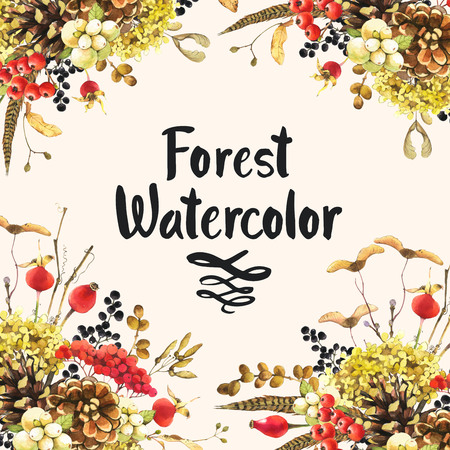 Beautiful forest frame and headline with winter plants: rowan, viburnum, pinecone, snowberry and hydrangea. Forest watercolor.