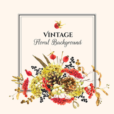 pinecone: Beautiful forest bouquet and headline with winter plants: rowan, viburnum, pinecone, snowberry and hydrangea. Square vintage frame.