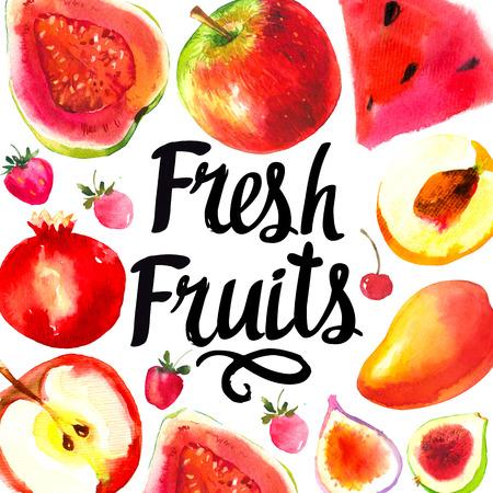 Set of different fruits: guava, apple, peach, fig, cherry, strawberry, mango, watermelon. Fresh organic food. Stock Photo
