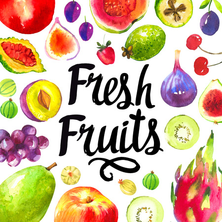 fig: Set of different fruits: plum, grape, guava, peach, fig, kiwi, gooseberry, cherry, strawberry, dragon fruit. Fresh organic food. Stock Photo