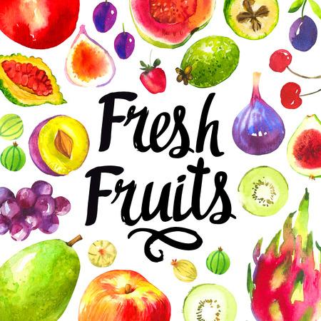 grape fruit: Set of different fruits: plum, grape, guava, peach, fig, kiwi, gooseberry, cherry, strawberry, dragon fruit. Fresh organic food. Stock Photo