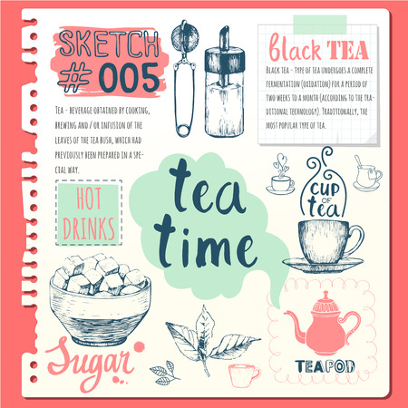 Cup, sugar bowl, spoon and teapot in sketch style.  Traditions of tea time. Decorative elements for your design. Vector Illustration with tea party symbols on white background. Vettoriali