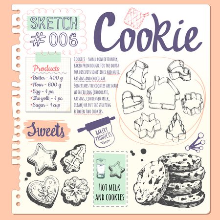 Figure cookies, forms for cookies and biscuits with chocolate in sketch style. Vector illustration of fresh organic baking with cooking recipe. Dessert pastries.