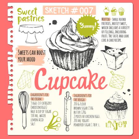 Muffins en cupcakes in schets stijl. Vector illustratie van verse biologische bakken met recept. Dessert gebak.