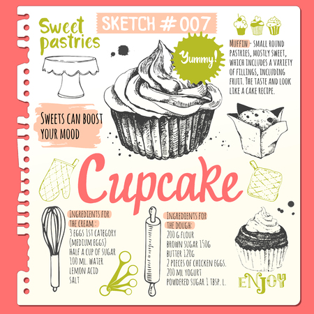 Muffins and cupcakes in sketch style. Vector illustration of fresh organic baking with cooking recipe. Dessert pastries.
