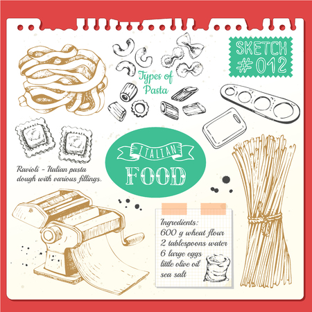Vector illustration with pasta machine, pasta, ravioli. Sketch designon white background.