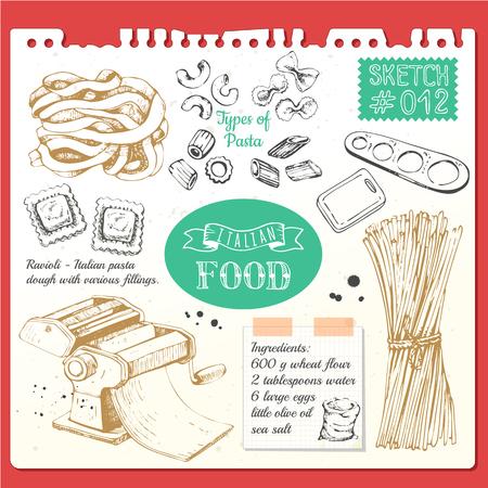Vector illustratie met pasta machine, pasta, ravioli. Schets designon witte achtergrond.