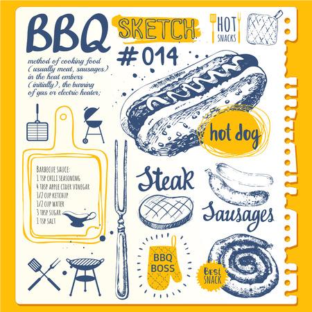 Ilustración del vector de comida americana tradicional festivo. etiquetas divertidas de la fiesta de fin de semana: salchichas y perros calientes. Parilla.