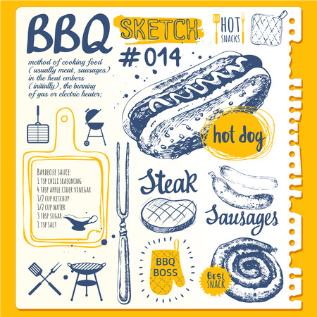 Vector illustration of festive traditional American food. Funny labels of weekend party: sausages and hot dogs. Barbecue.