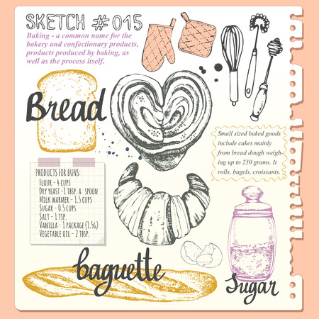 Croissant, bread, bun, baguette in sketch style. Vector illustration of fresh organic baking with cooking recipe. Dessert pastries.