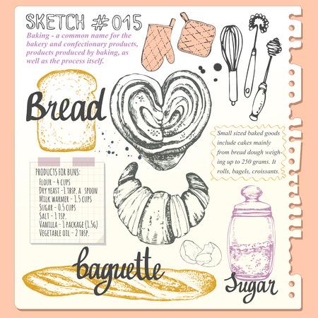 papel de notas: Croissant, pan, bollo, baguette en el estilo de dibujo. Ilustración del vector de la hornada orgánico fresco con receta de cocina. pasteles de postre.