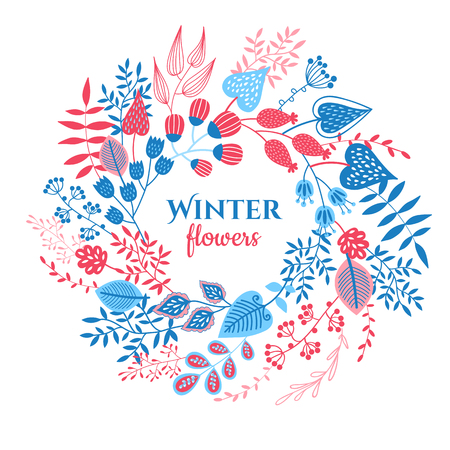 decoration elements: Fabulous doodling with winter leaves and flowers. Cartoon elements for decoration and create your design.