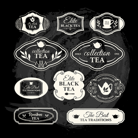 traditions: Simple symbols with cup and teapot. Traditions of tea time. Decorative elements for your design. Black and white style. Illustration