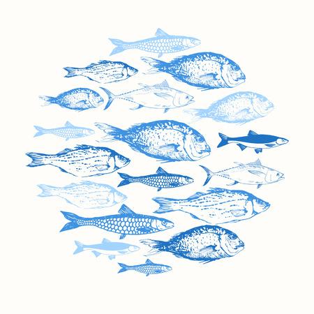 boceto: Composición ronda. Mano dibuja peces. diseño azul.