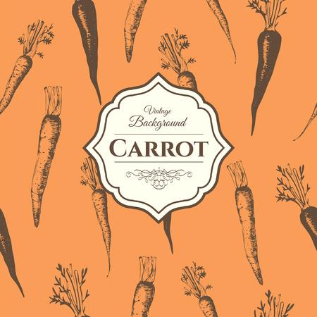 root vegetables: Fresh organic food.  Carrots background.  Vintage style. Orange pattern.