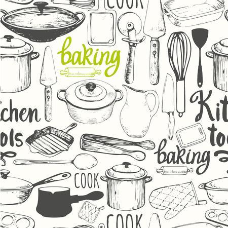 line art: Ilustraci�n del vector con s�mbolos divertidos para cocinar sobre fondo blanco. Elementos decorativos para el dise�o de su embalaje. decoraci�n multicolor.