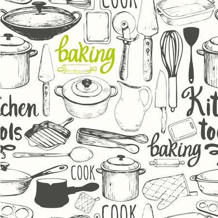 Vector Illustration with funny cooking symbols on white background. Decorative elements for your packing design. Multicolor decor. Stock Illustratie
