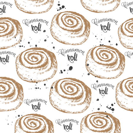 cinnamon: Vector illustration with sketch cinnamon roll. Hand-drawn pattern on white background.