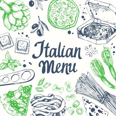 comida italiana: Pasta encuentra en el estilo de dibujo. Italiana tradicional comida casera en el fondo blanco.