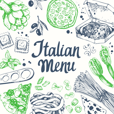 main course: Pasta set in sketch style. Italian homemade traditional food on white background. Illustration