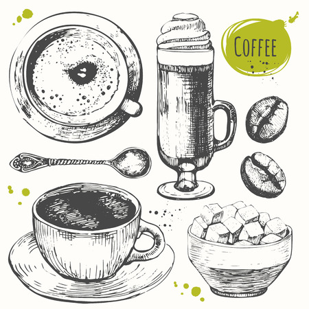 boceto: Conjunto de drawncup mano de café, café con leche, granos de café y la taza de azúcar. bosquejo blanco y negro de café.