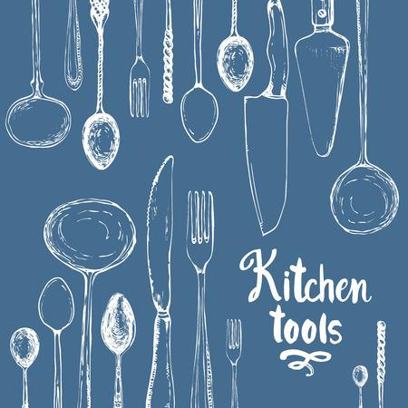 Vector Illustratie met grappige het eten werktuigen op een blauwe achtergrond. Decoratieve elementen voor uw verpakking ontwerp. Multicolor decor.