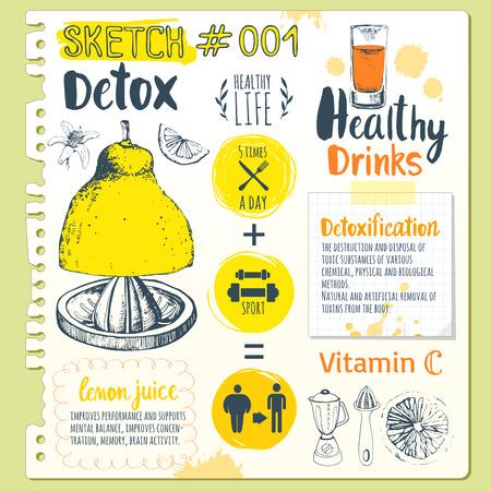 ejemplo divertido del vector con las bebidas de jugos naturales: batidos, limonada y menaje de cocina. Detox. Estilo de vida saludable.