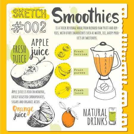 Vector illustration drôle avec des jus naturels boissons: smoothies, limonade et équipement de cuisine. Detox. Style de vie sain