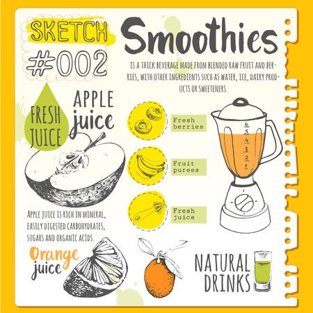 Vector funny illustration with natural juices drinks: smoothies, lemonade and kitchen equipment. Detox. Healthy lifestyle Vettoriali