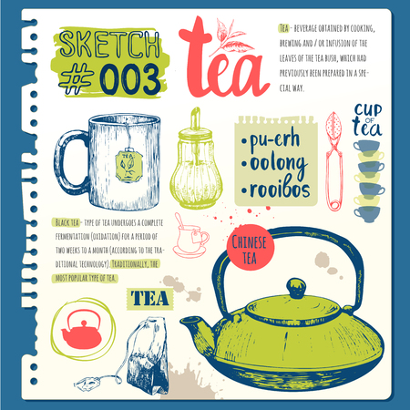 traditions: Cup, sugar bowl, spoon and teapot in sketch style.  Traditions of tea time. Decorative elements for your design. Vector Illustration with tea party symbols on white background. Illustration