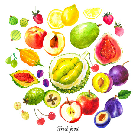 guayaba: Conjunto de diversas frutas: ciruela, guayaba, durazno, higo, kiwi, grosella, cereza, fresa, manzana, Momordica, feijoa. Los alimentos frescos orgánicos. Foto de archivo