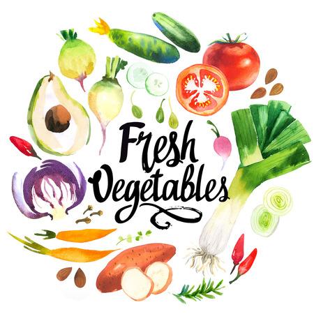 Reeks verschillende groenten: prei, paprika, radijs, wortelen, komkommer, tomaat, zoete aardappel, rozemarijn, avocado. Verse biologische voeding. Verse biologische voeding. Stockfoto
