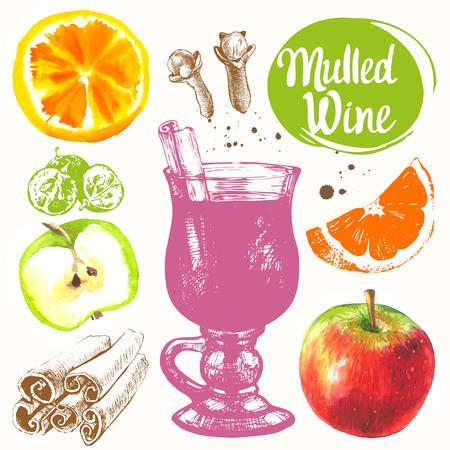 apple cinnamon: Sketch and watercolor illustration with mulled wine, cinnamon, grape, orange, apple.