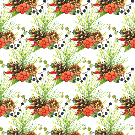 pine cone: Floral pattern with watercolor realistic flowers: with watercolor berries, rowan, pine, rose, pine cone. Stock Photo